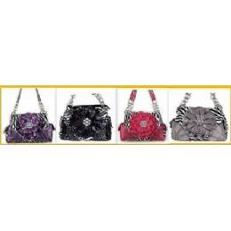 36 Units of Rhinestone Flower Fashion Purse W/ Chain Handles - Leather Purses and Handbags