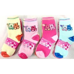 120 Units of Bear Girl Socks Size 4-6 & 6-8 Assorted Colors - Girls Crew Socks