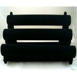 24 Units of Black Velvet Bracelet Jewelry Display Rack 3-Rows - Displays & Fixtures