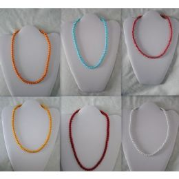 48 Units of Magnetic Handmade Necklace With Round Color Beads - Necklace