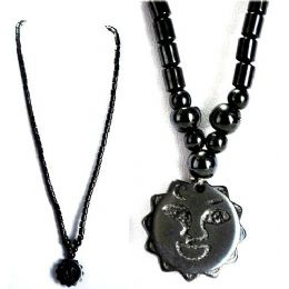 48 Units of Magnetic Hematite Handmade Necklace Sun Pendant - Necklace