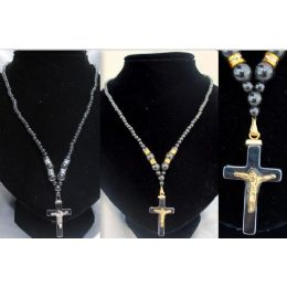 48 Units of 12 Pcs Magnetic Hematite Necklace Cross With Jesus - Necklace