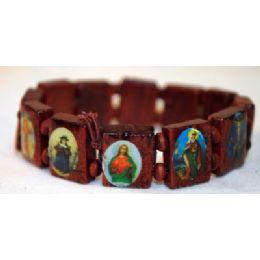 120 Units of Wood Braceet Rosary Saint Red - Bracelets