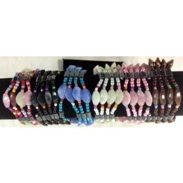 72 Units of Magnetic Hematite Plastic Oval Shape Wraped Necklace/ Bracelet - Bracelets