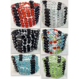 72 Units of Magnetic Hematite Plastic Beads Wraped Necklace/ Bracelet - Bracelets