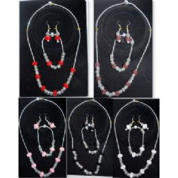 48 Units of Pre Mixed Murano beans Necklace, Bracelet, and Earring - Necklace Sets