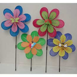 "120 Units of 16"" Double Wind Spinner [pastel Petals & Bug Assortment] - Garden Decor"