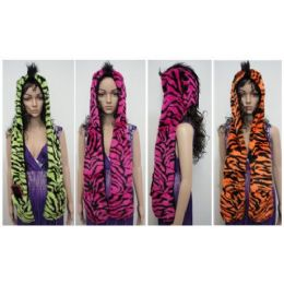 24 Units of Full Animal Hood W MittenS-Neon Tiger Stripes W Mohawk - Winter Animal Hats