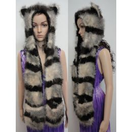 12 Units of Full Animal Hood with Mittens [Brown/Tan Stripes] - Winter Animal Hats