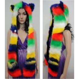 12 Units of Full Animal Hood with Mittens [Rainbow] - Winter Animal Hats