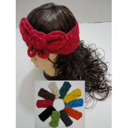 12 Units of Hand Knitted Ear Band [solid Color Loop W Bow] - Ear Warmers
