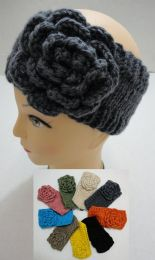 12 Units of Hand Knitted Ear Band [solid Color Loop W Flower - Ear Warmers