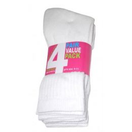 45 Units of Girls 4 Pair Value Pack Crew Sock White Color Only - Girls Crew Socks