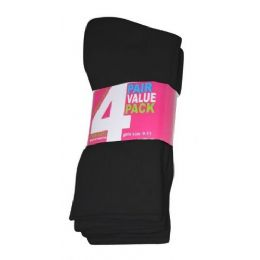 45 Units of Girls 4 Pair Value Pack Crew Sock Black Color Only - Girls Crew Socks