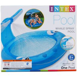 """6 Units of 82""""x62"""" WHALE SPRAY POOL, AGE 2+, IN COLOR BOX - Summer Toys"""