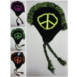 12 Units of Peace Sign Knitted Mohawk Hat with Ear Flaps - Winter Helmet Hats
