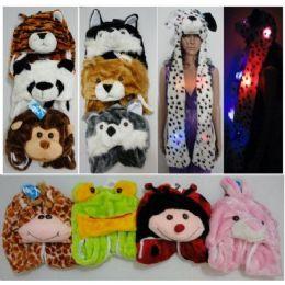 12 Units of Long Light Up Plush Animal Hat - Winter Animal Hats