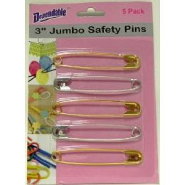 48 Units of 3 Inch Jumbo Safety Pins 5 Pack - Sewing Supplies