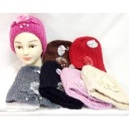 24 Units of Knit Girl Cap Hats With A Fur Ball And Beads - Junior / Kids Winter Hats