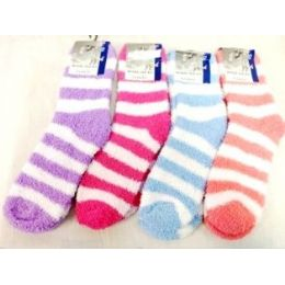 120 Units of Large Stripes Fuzzy Sock Assorted Colors - Womens Fuzzy Socks