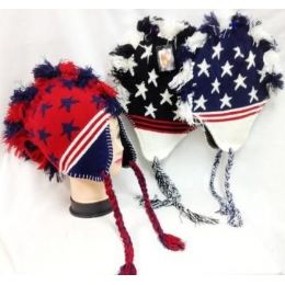 48 Units of American Flag Colored Mohawk Knit Hats With Ear Flaps - Winter Helmet Hats
