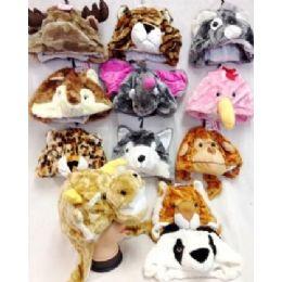 24 Units of Short Plush Animal Fuzzy Hats 12 Different Animals - Winter Animal Hats