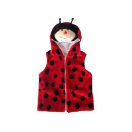 24 Units of Kids Vest With Animal Hoodie Lady Bug - Kids Vest