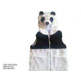 24 Units of Kids Vest With Animal Hoodie Panda - Kids Vest
