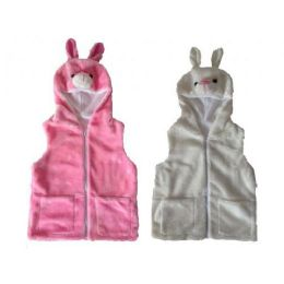 24 Units of Kids Vest With Animal Hoodie Bunny - Kids Vest
