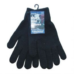 144 Units of Winter Men Knit Glove Black Only - Knitted Stretch Gloves