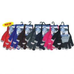 96 Units of Winter Text Finger Glove w/ Grip - Knitted Stretch Gloves