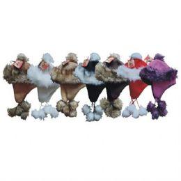 24 Units of Winter Aviator Hat Suede W/ Fur Trims - Winter Helmet Hats