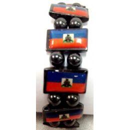 120 Units of Haiti Flag Bracelet Magnetic Hematite - Bracelets
