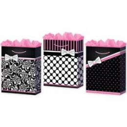 144 Units of Gift-Bag Jumbo Girls Pretty In Pink 3 Styles. - Gift Bags Assorted