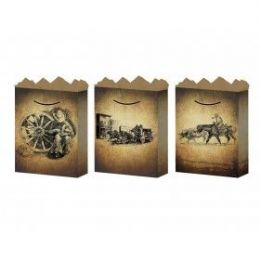 288 Units of G-Bag Medium Mat Old West 3 Styles - Gift Bags Hologram