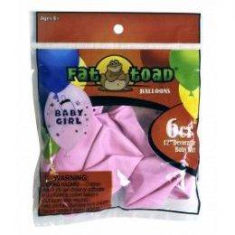 """144 Units of Fat Toad 6CT 12"""" Baby Girl - Balloons/Balloon Holder"""