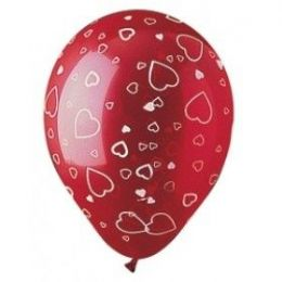 "20 Units of 50CT 12"" AA Hearts Crystal Ruby - Balloons & Balloon Holder"