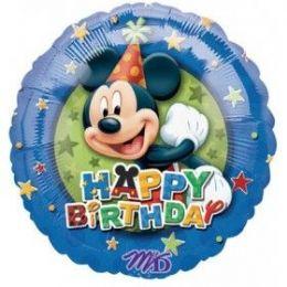 "100 Units of Mylar 18"" LC-Happy Birthday Mickey - Balloons & Balloon Holder"