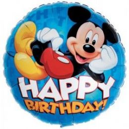 "100 Units of Mylar 18"" LC-Mickey Happy B-Day - Balloons & Balloon Holder"