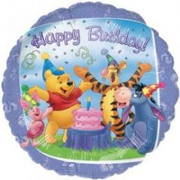 100 Units of AG 18 LC B-Day Pooh & Friends - Balloons & Balloon Holder