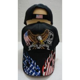 24 Units of Eagle Hat [Flag/POW Wings] Flag Flame on Bill - Military Caps