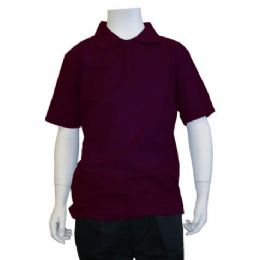 12 Units Of Boys School Uniform Polo Shirt Burgundy Color: burgundy polo shirt boys