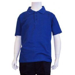 12 Units of Boys School Uniform Polo Shirt Royal Blue Color - Boys School Uniforms
