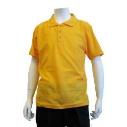 12 Units of Boys School Uniform Polo Shirt Yellow Gold Color - Boys School Uniforms