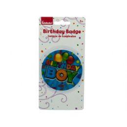 288 Units of holographic boy birthday badge - Party Novelties