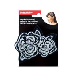 144 Units of simplicity embroidered sequin flower headband accent - Pom Poms and Feathers