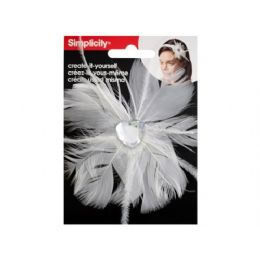 144 Units of simplicty white feather w/jewel headband accend - Pom Poms and Feathers