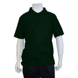12 Units of Boys School Uniform Polo Shirt Hunter Green - Boys School Uniforms