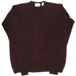 26 Units of Adult V-Neck Pull Over Sweater Burgundy Only - Boys School Uniforms
