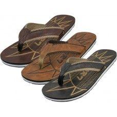 36 Units of Men's Emboss Insole Sport Flip Flops - Men's Flip Flops and Sandals